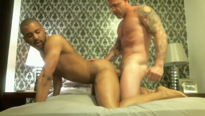 xtube327a Xtube Post of the Day: Hot Tattoo Muscle Daddy Hot Interracial Bareback Fucking