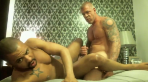 xtube327c 300x168 Xtube Post of the Day: Hot Tattoo Muscle Daddy Hot Interracial Bareback Fucking