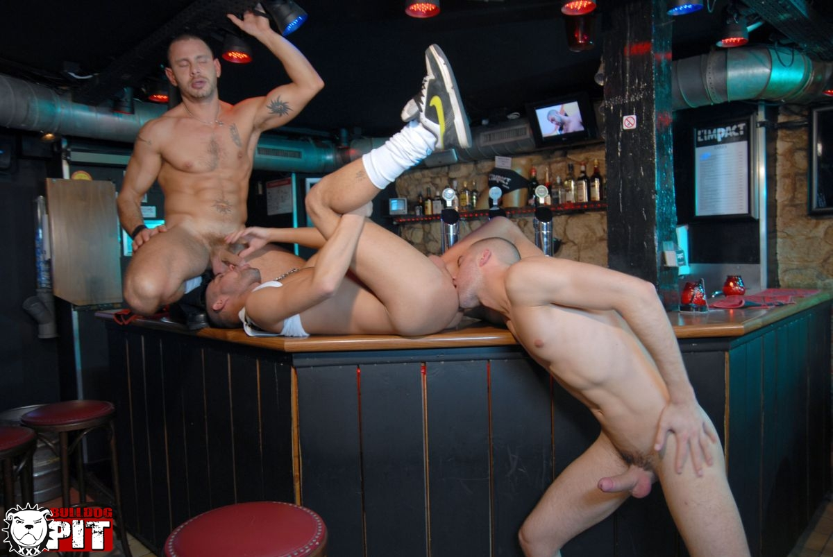 Bulldog Pit Greg Adams and Brice Farmer and Ivan Rueda threeway amatuer jock fucking big uncut cocks 13 Amateur Hunks With Big Uncut Cocks Caught Fucking in a Gay Bar
