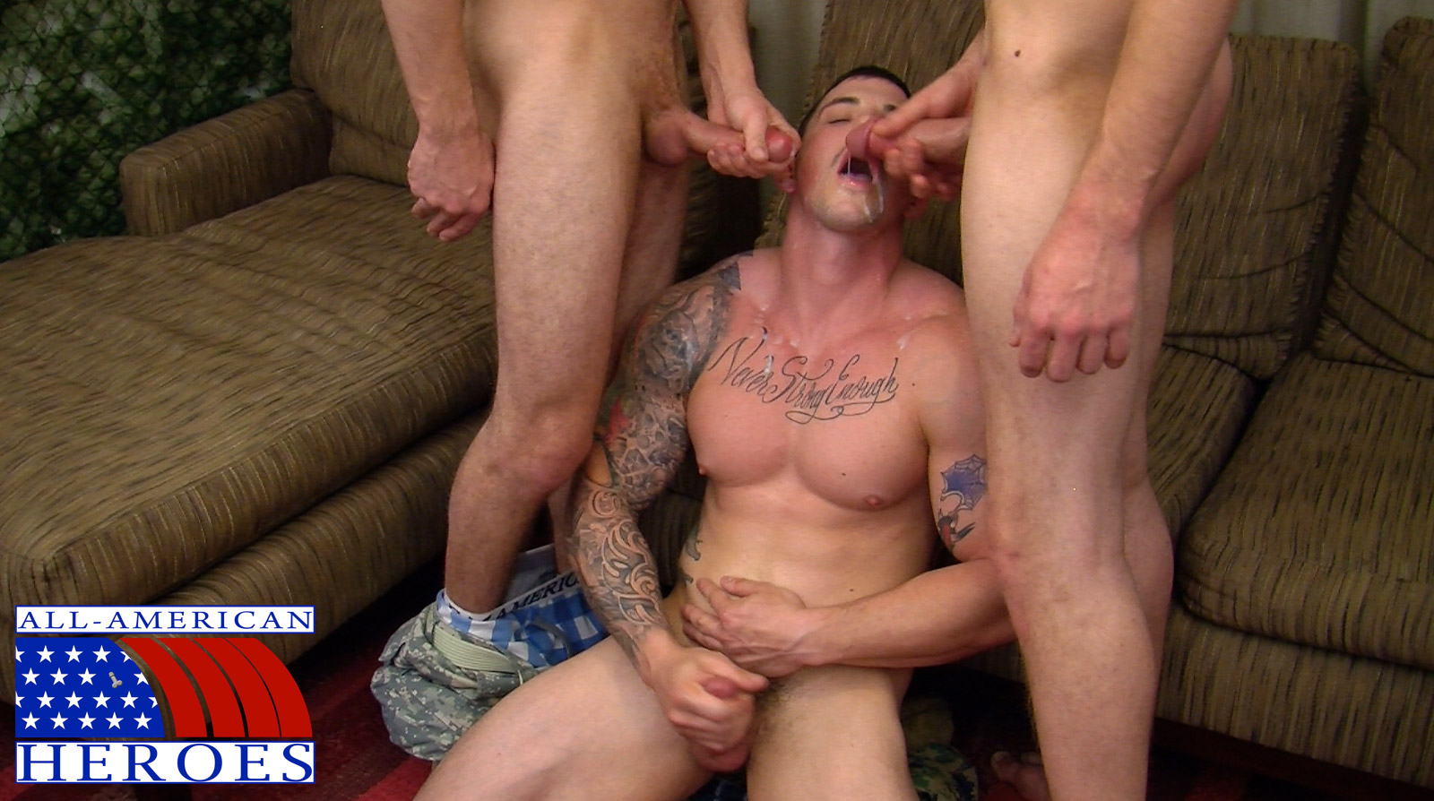two real army privates fuck their muscle sergeant and cum in his