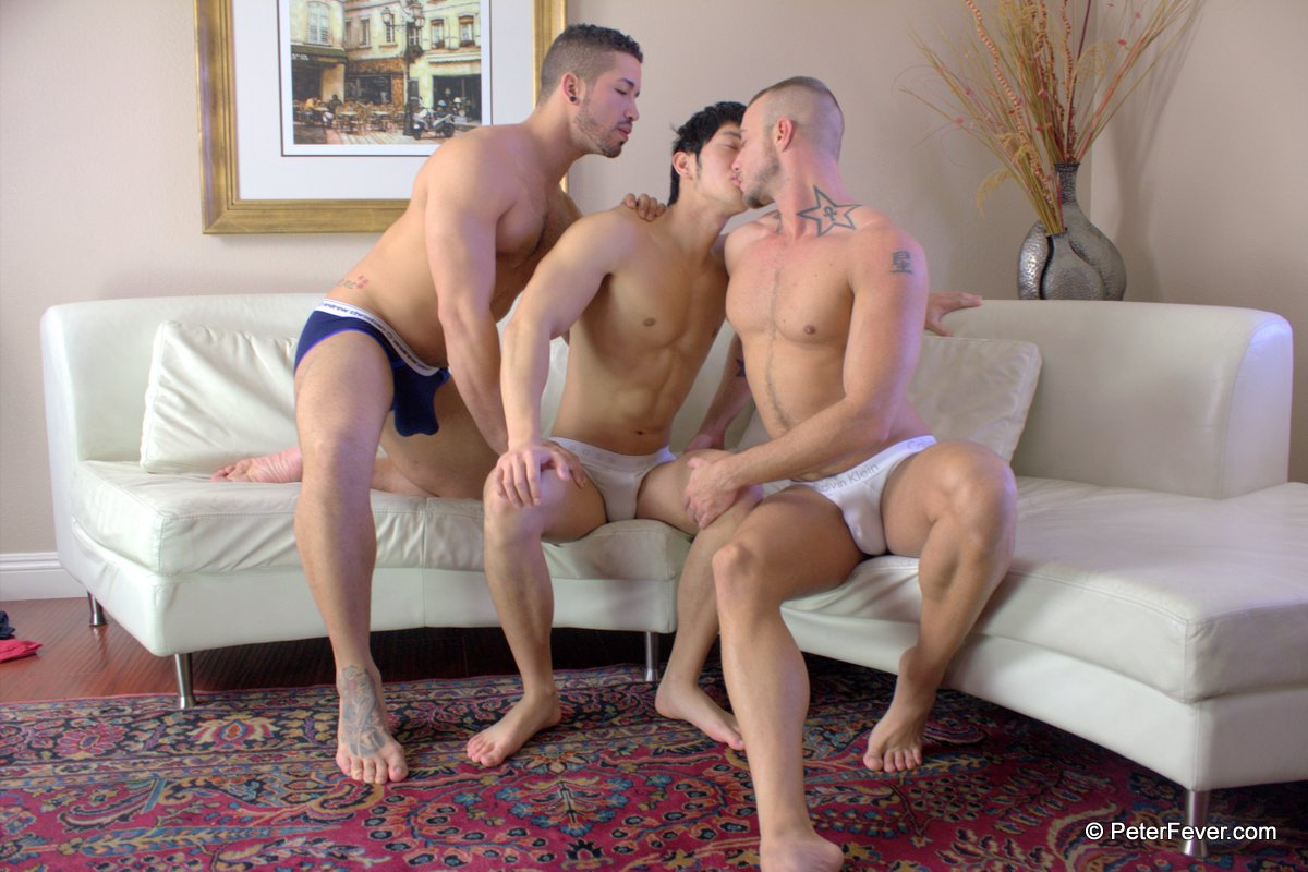 Gay three some gets laid