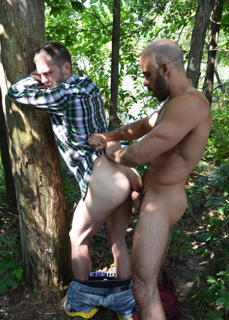 guy gets fucked outdoor