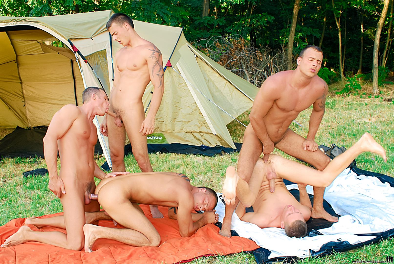 Visconti Triplets Jason Visconti Jimmy Visconti Joey Visconti Giuseppe Pardi Fucking During A Camping Trip Amateur Gay Porn 07 Visconti Triplets Tag Team Some Muscle Ass While Camping