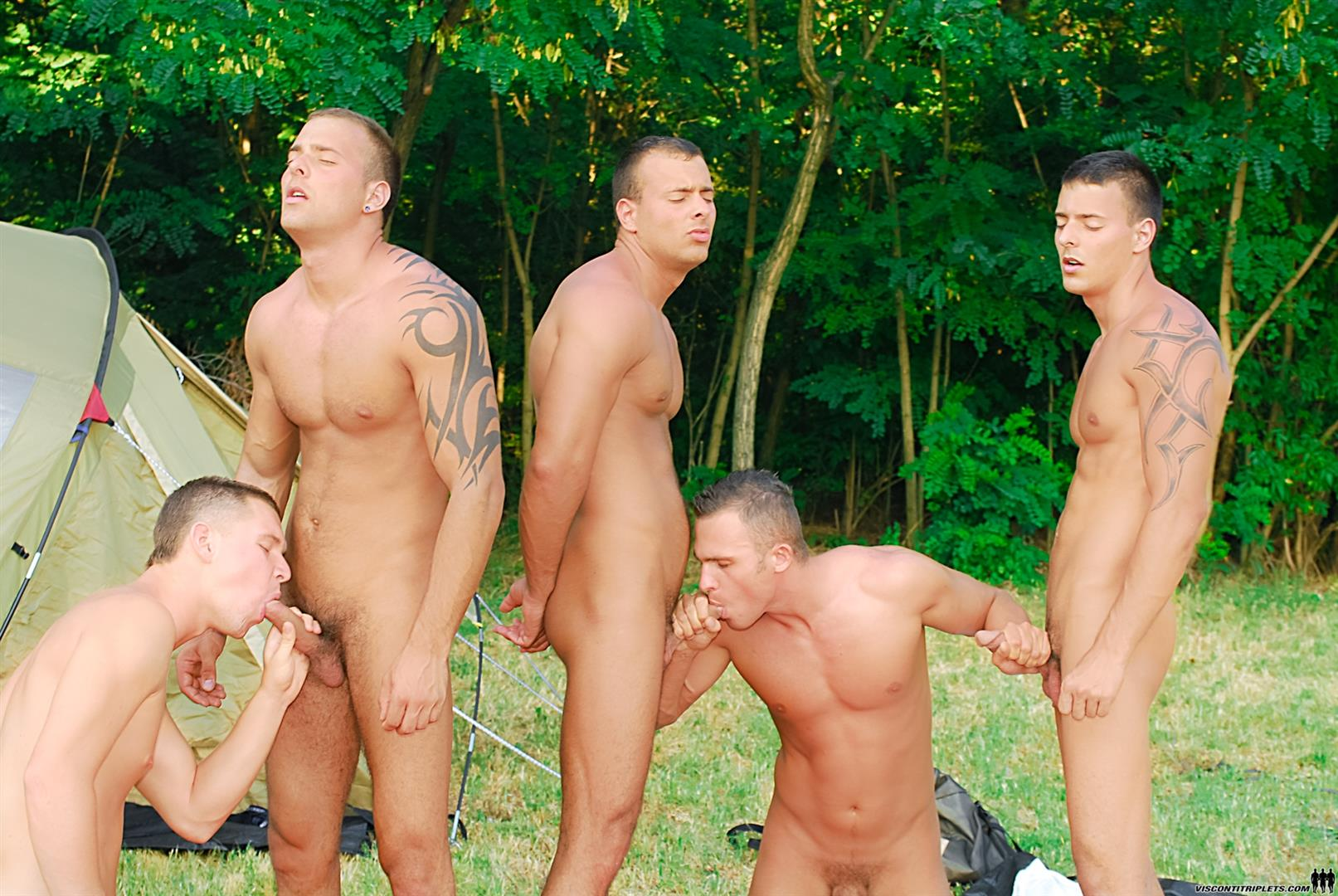 Visconti Triplets Jason Visconti Jimmy Visconti Joey Visconti Giuseppe Pardi Fucking During A Camping Trip Amateur Gay Porn 09 Visconti Triplets Tag Team Some Muscle Ass While Camping