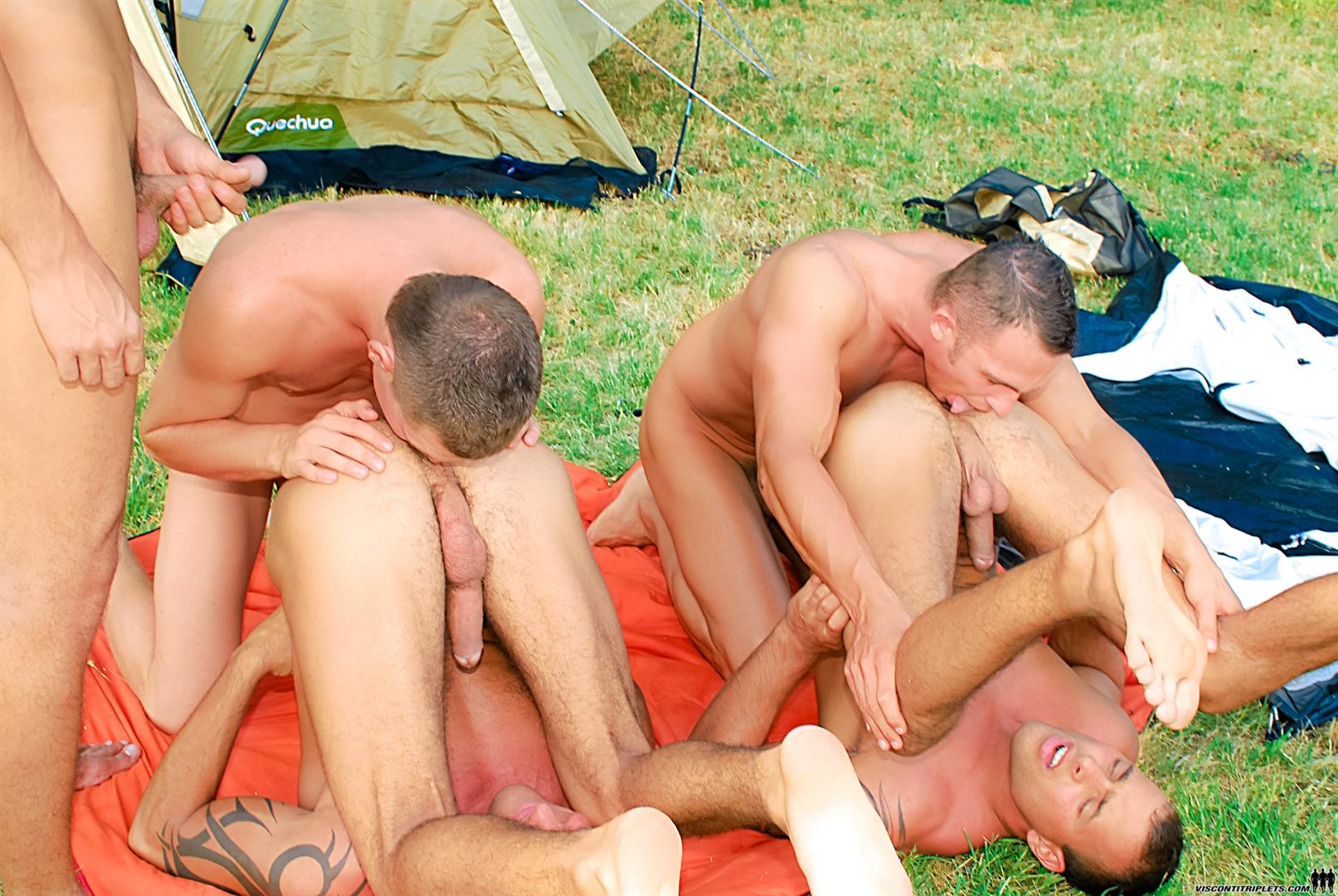 Visconti Triplets Jason Visconti Jimmy Visconti Joey Visconti Giuseppe Pardi Fucking During A Camping Trip Amateur Gay Porn 12 Visconti Triplets Tag Team Some Muscle Ass While Camping