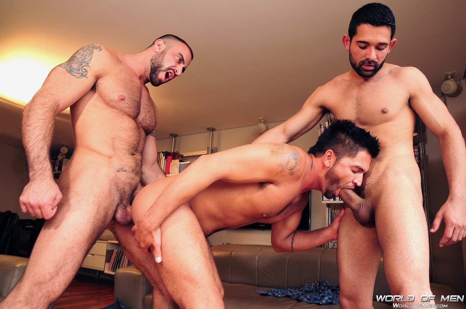 Gay jock gets tagged teamed by two guys