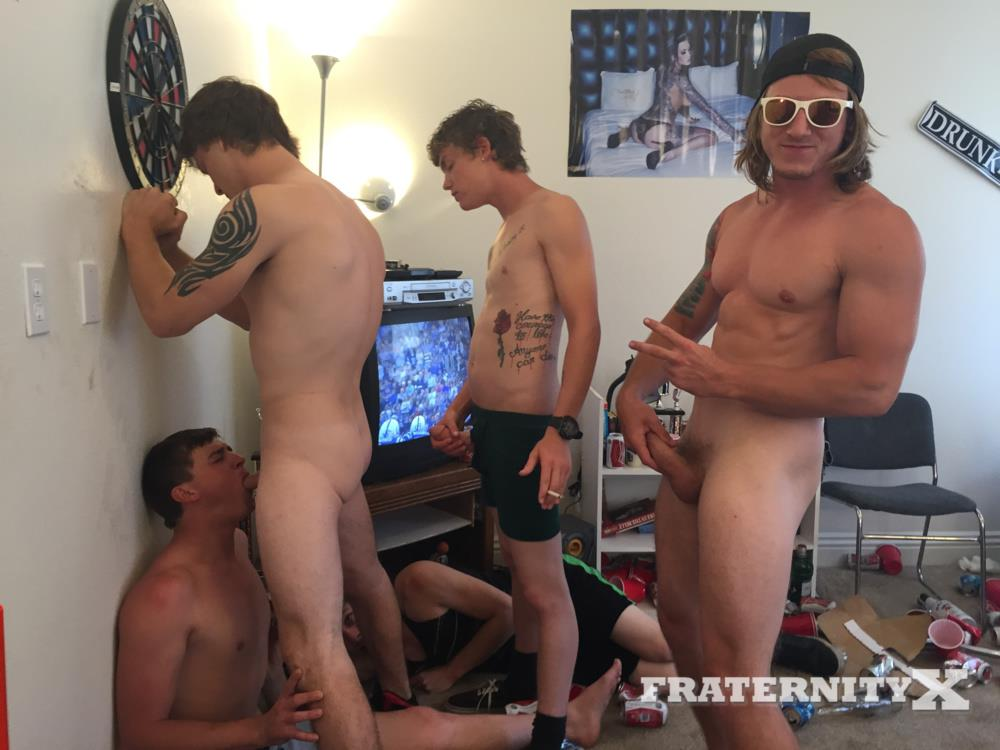 Fraternity X College Frat Guys Naked and Fucking Bareback Amateur Gay Porn 25 Drunk Frat Guys Getting Stoned and Barebacking A Freshman Pledge