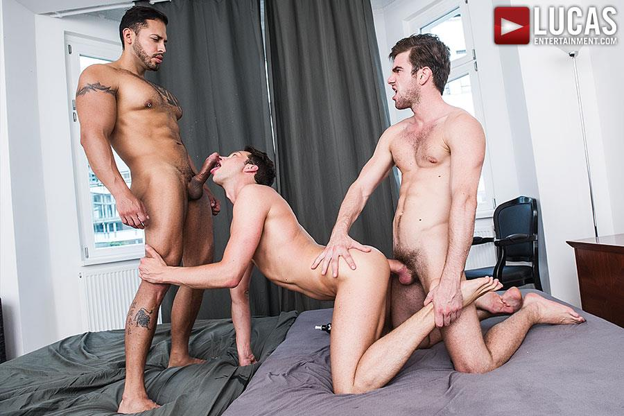 Hungry gay twink eats black cock