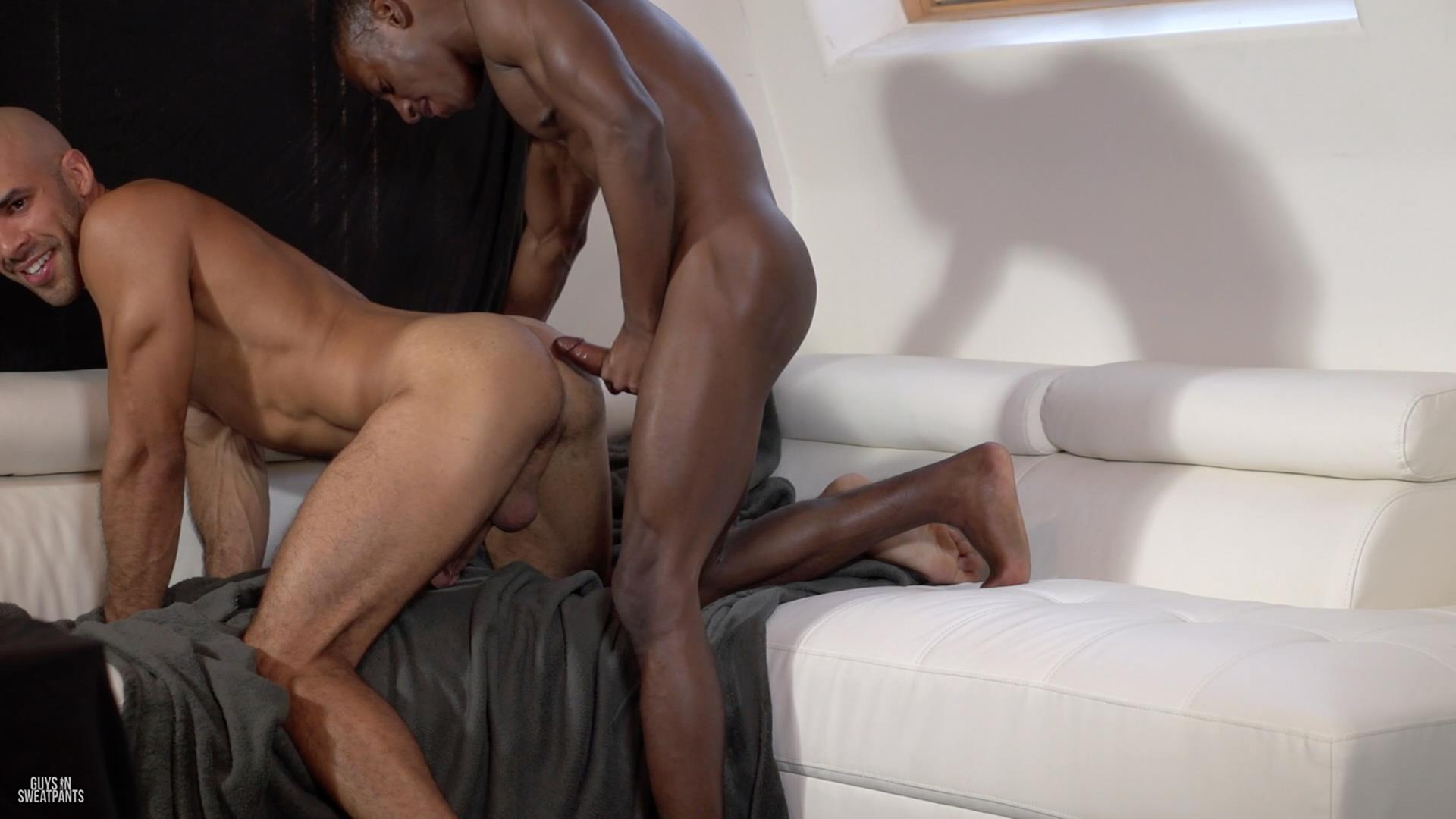 Guys in Sweatpants Austin Wilde and Liam Cyber Bareback Interracial Sex Amateur Gay Porn 05 Austin Wilde Takes A Big Black Bareback Cock Up The Ass