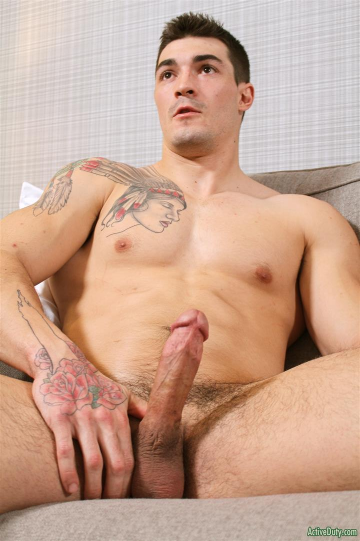 Tattoed gay guy loves stroking his cock