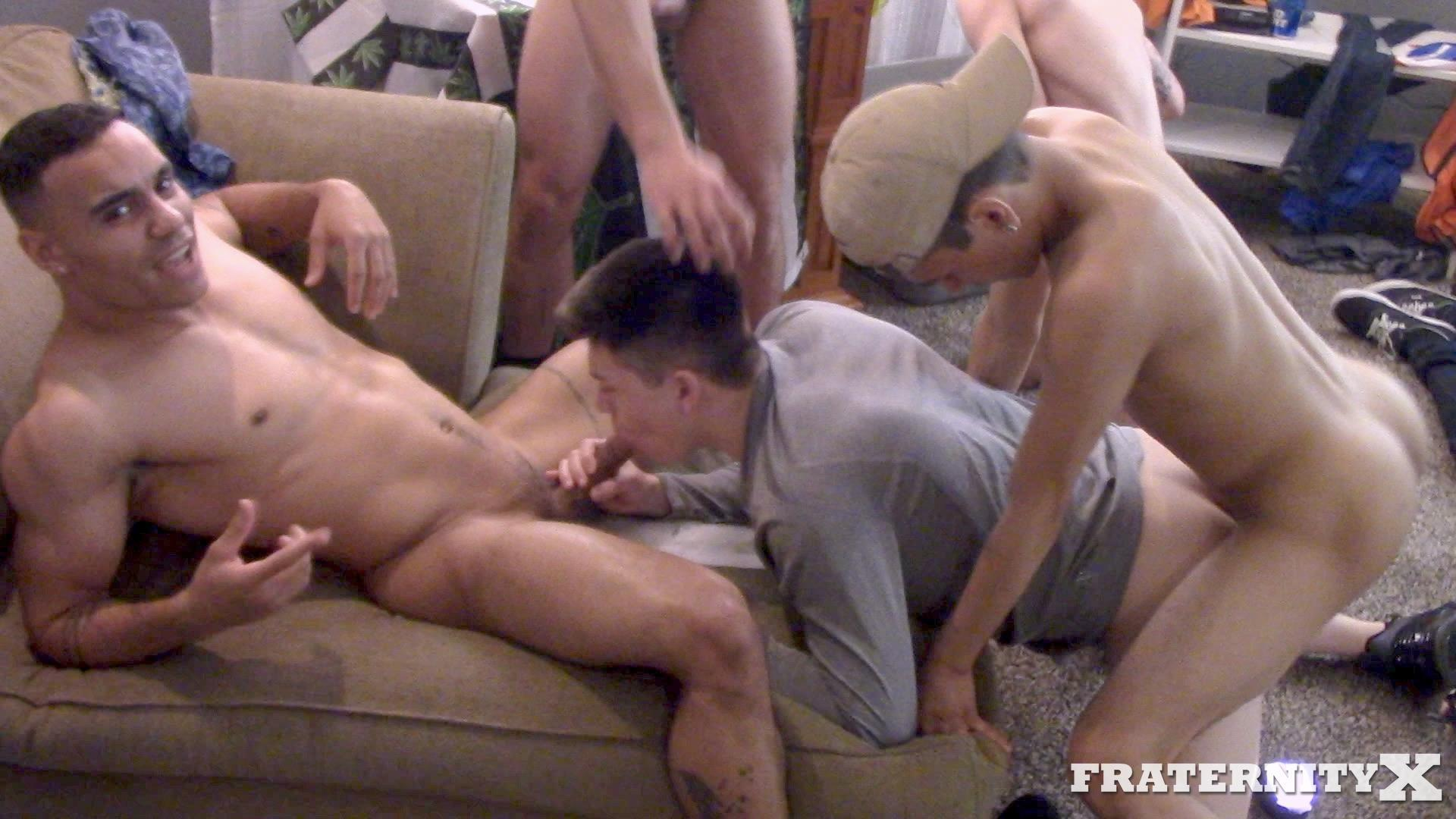 Fraternity-X-Naked-Frat-Guys-Fucking-Bareback-01 Drunk and High Frat Boys Gang Bang Two Of Their Frat Brothers